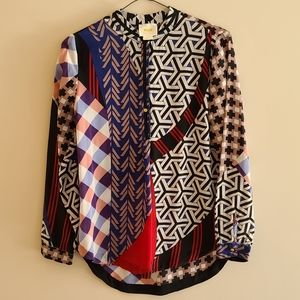 Anthropologie Maeve silk blouse patchwork style